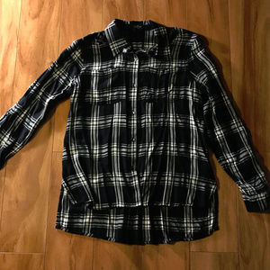 Jessica Simpson Black And White Plaid Button Up